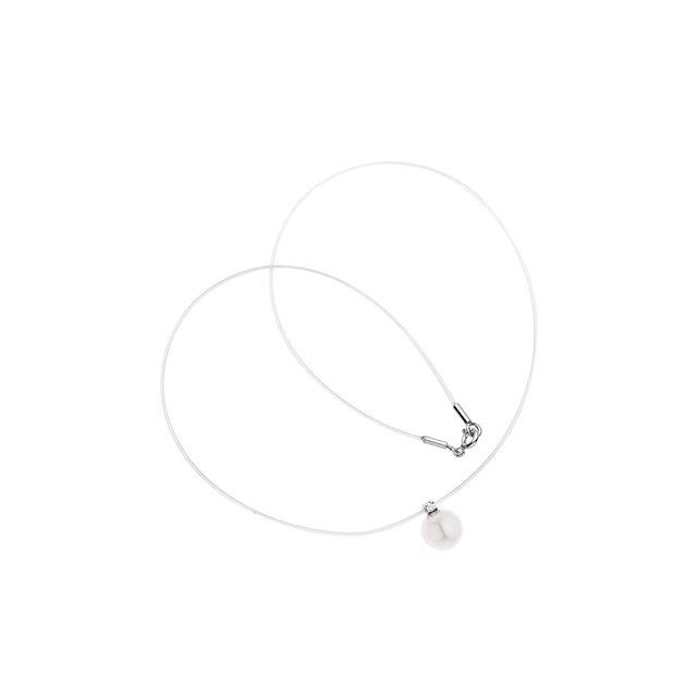 Collier lien nylon transparent véritable perle de culture d'eau douce