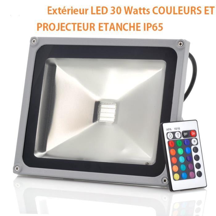 PROJECTEUR LED EXTERIEUR 30 WATTS COULEURS ETANCHE IP65 SPOT Achat