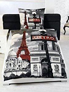 Parure housse de couette Lit 1 Personne chambre Enfant Paris Tour