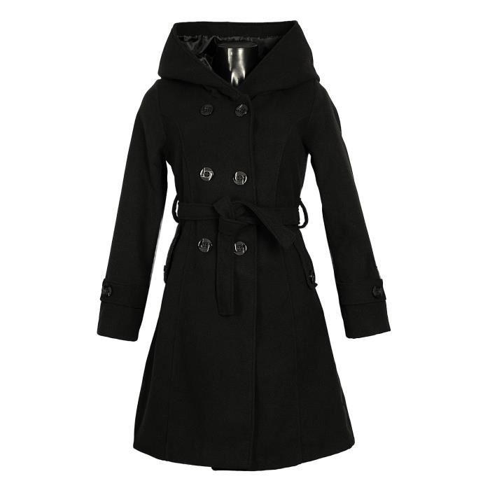Manteau laine noir capuche femme