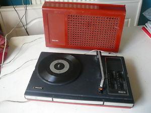 Philips 523 vintage orange fonctionne tourne disque