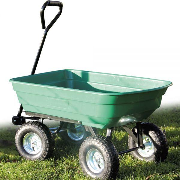 Chariot de jardin Brouette basculante 75L 4 roues supporte 150Kg