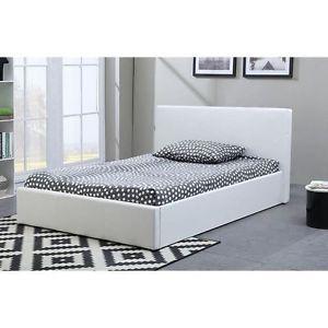 Java LIT Coffre Adulte 160x200cm Blanc Sommier Multicolore Neuf