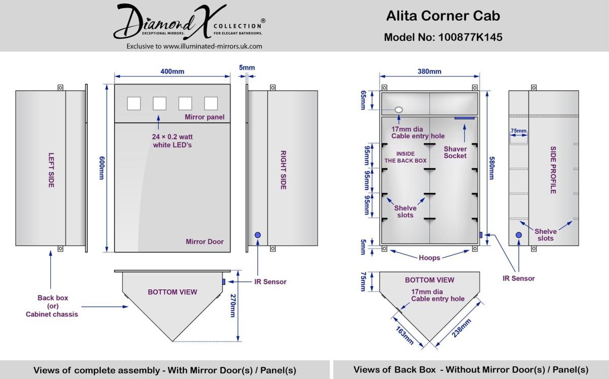 Armoire de toilette d angle Alita avec prise rasoir et capteur k145