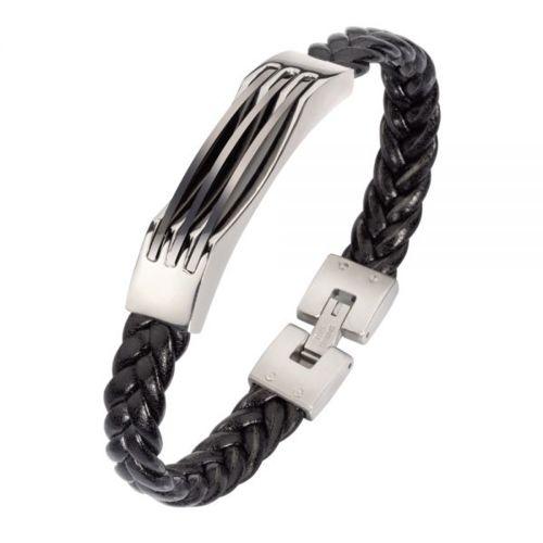 Art de France Bracelet homme cuir noir tressé et acier inox 22cm