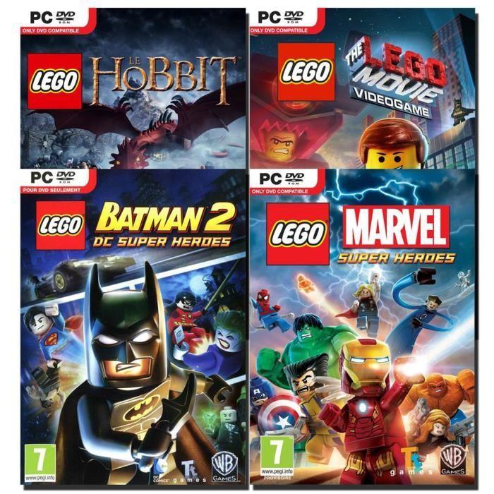 les jeux sur PC Lego Marvel, Lego Hobbit, Lego Movie Videogame et Lego