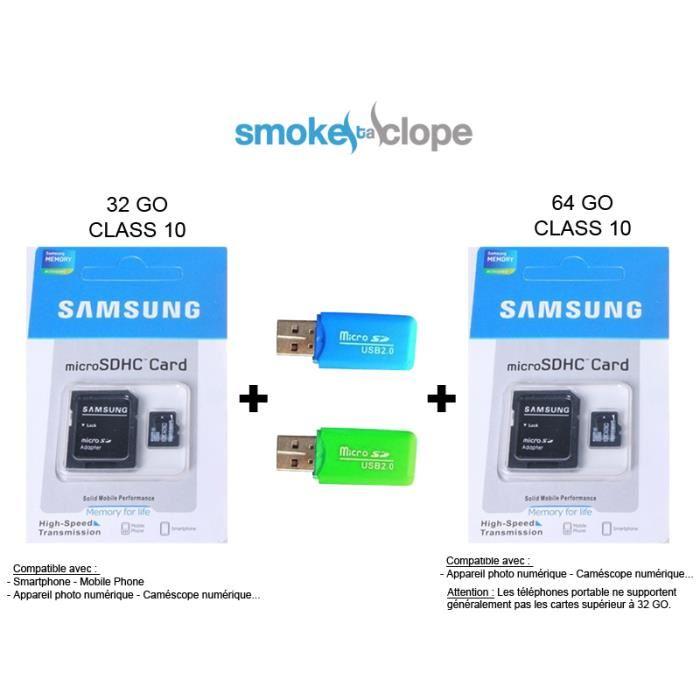 Carte mémoire micro SD Samsung 32 GO + 64 GO Achat / Vente CARTE
