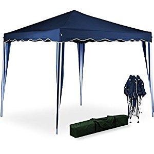Tente pliante 3×3 m Tonnelle pavillon jardin pliable bleu + Sac de