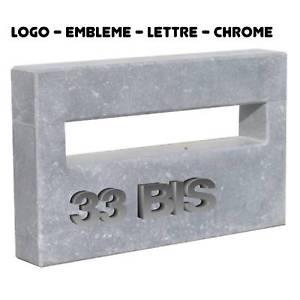 LOGO EMBLEME 3D BOITE AU LETTRE NUMERO CHIFFRE CHROME