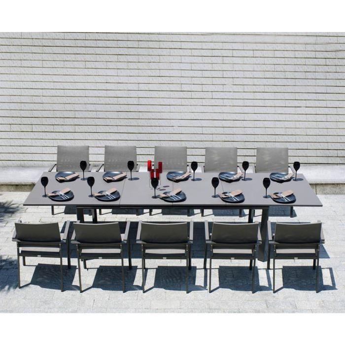Table extensible et 6 fauteuils de jardin Ensemble Table extensible