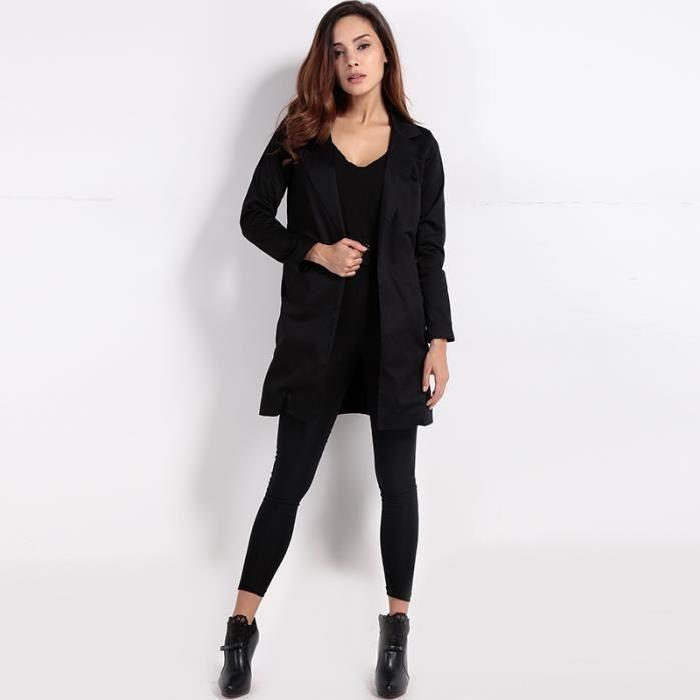 manteau veste long femme trench de mode OL slim col rabattu Noir