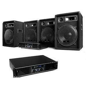 DJ PA PACK SONO COMPLET SET 2x AMPLI 480W 4x ENCEINTE SUBWOOFER 10 034