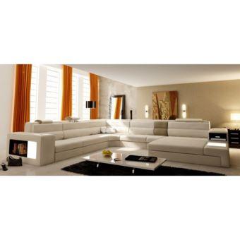 Canapé panoramique en cuir beige angle droit Venise Achat / Vente
