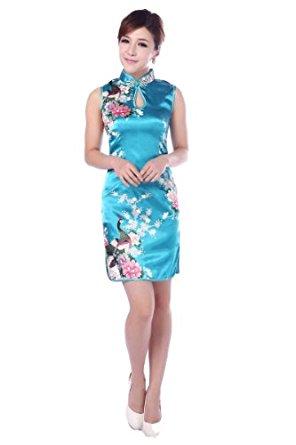 JTC Femme Cheongsam Qipao Robe Courte Chinois Motif de Paon et Fleur