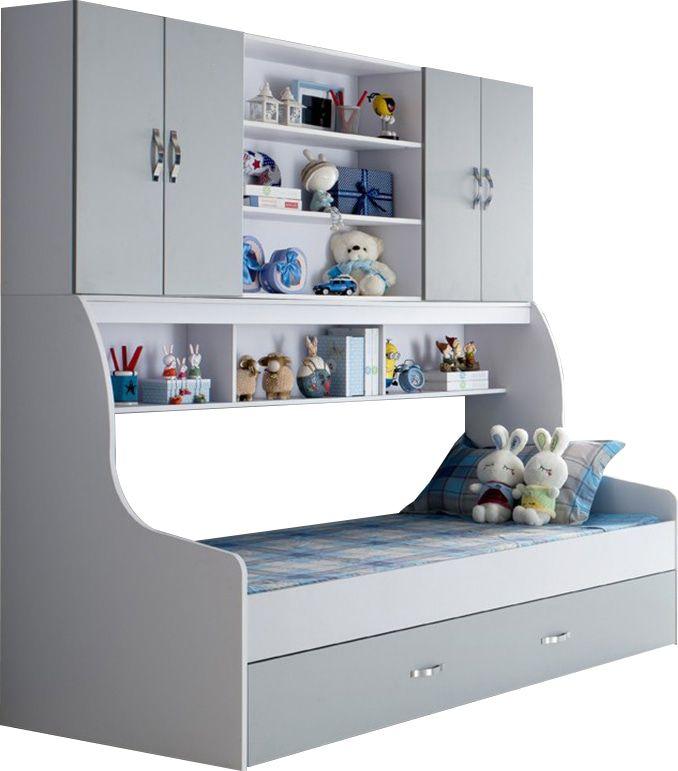 Lit pour enfant 90×200 gris avec tiroir et rangement mural