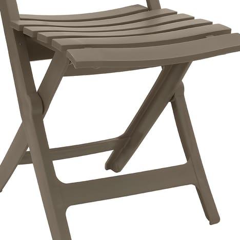Chaise pliante MIAMI résine taupe GROSFILLEX pas cher à prix