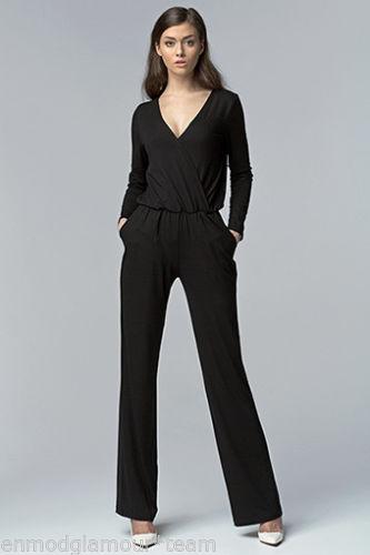 Combinaison sexy Noire Femme Mode Chic Manches Longues col V NIFE KM02