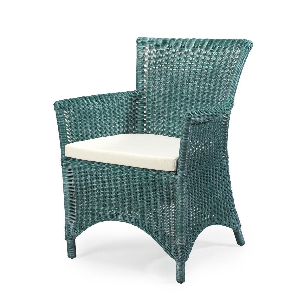 : Lot 6 Fauteuils en Rotin Vert ROSAS fauteuil salle à manger