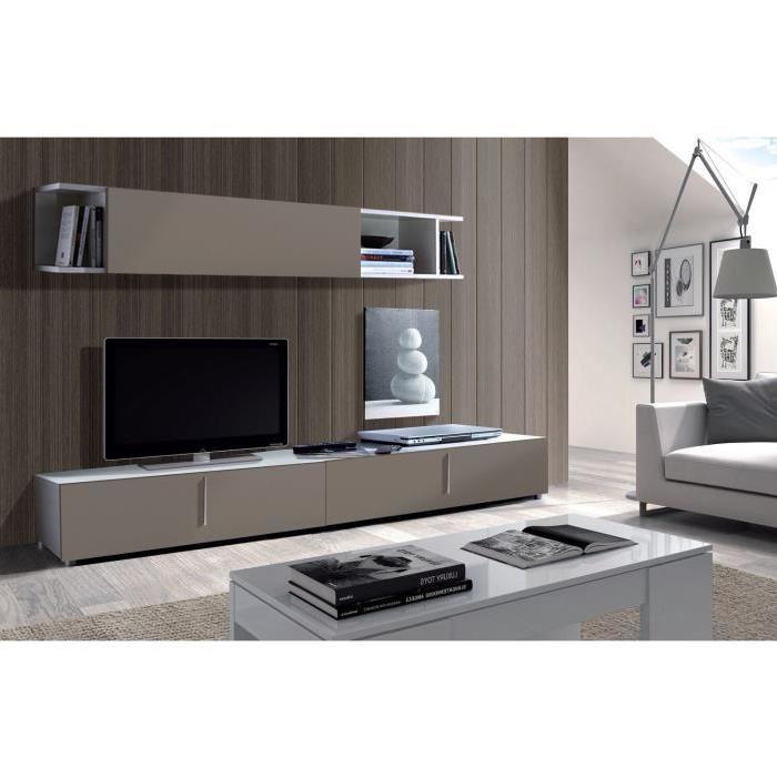 LYON Meuble TV mural 200 cm gris/blanc Achat / Vente meuble tv LYON