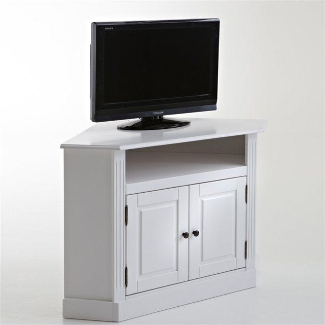 image Meuble TV d'angle, pin massif, coloris blanc, Authentic Style La