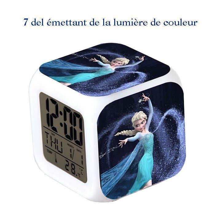 Reveil Horloge Cube led 7couleurs Reine des Neiges Achat / Vente
