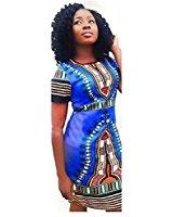 Tonsee Robe de taille Plus Bodycon femmes Dashiki impression africaine