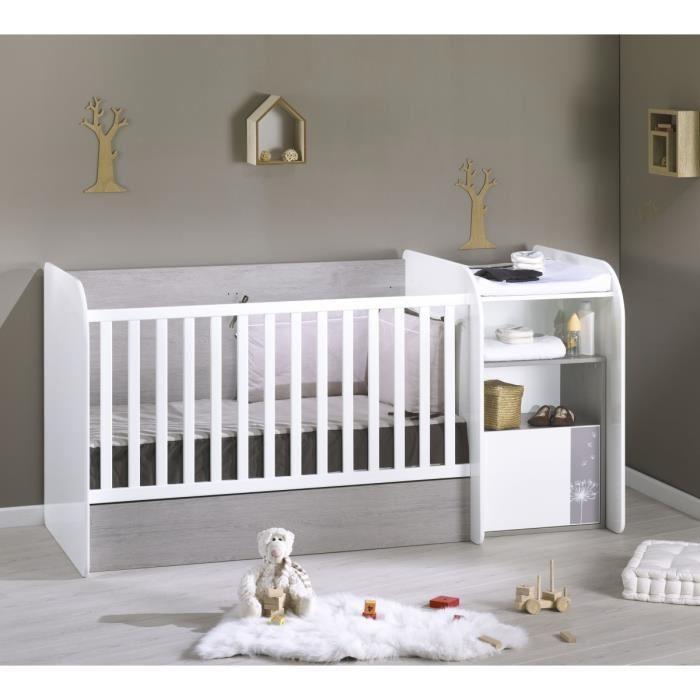 SAUTHON Lit bébé Combiné Evolutif Spring 70×140 cm Blanc et Gris