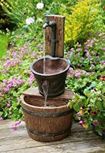 Fontaine Effet Fer Robinet, Seau et Tonneau: Jardin