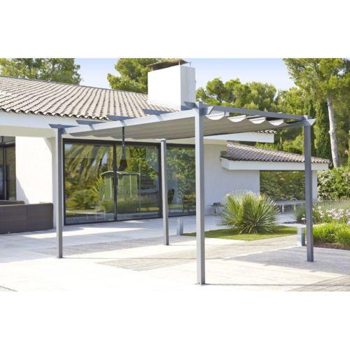 Tonnelle Lorca avec toile rétractable 3×4 m Aluminium et acier
