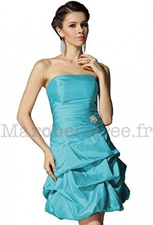Robe de soirée cocktail mariage gala plis ballon 4001 turquoise