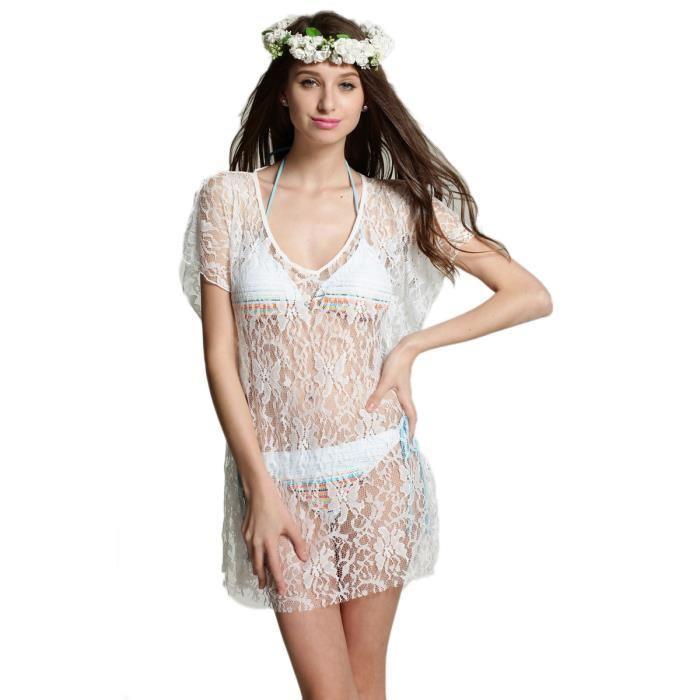 Robe de plage dentelle «Nikky» Blanc Achat / Vente robe de plage
