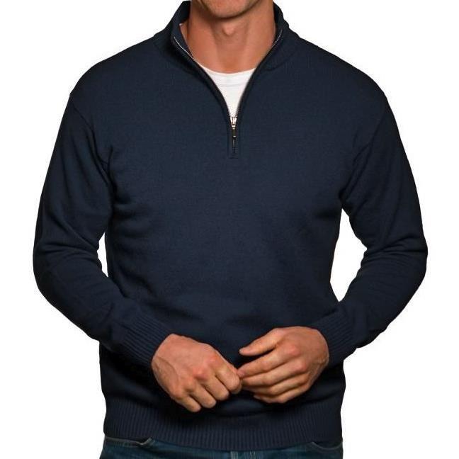 Pull camionneur homme zipé en laine cachemire manches longues