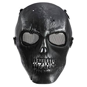 Masque Protection Visage Crâne Squelette Noir Airsoft BB