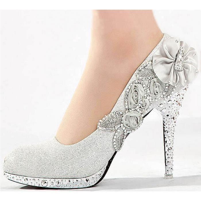 Chaussures à talon escarpin soirée,ville,brillante argent Achat