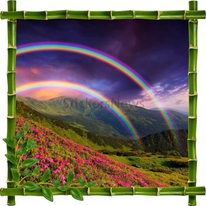 Sticker autocollant Cadre bambou Arc en Ciel en Montagne Dimensions