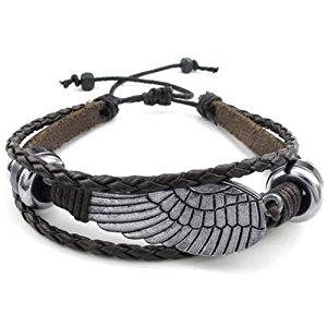 KONOV Bijoux Bracelet Homme Rétro Aile, 18 23cm Réglable Cuir