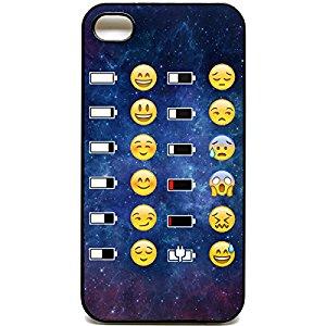 Coque pour iPhone 4/4s Motif Space Batterie Emoji Face Motif smiley