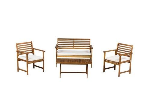 Salon de jardin Ensemble de Jardin 4 Places + Table Basse Bois Aura