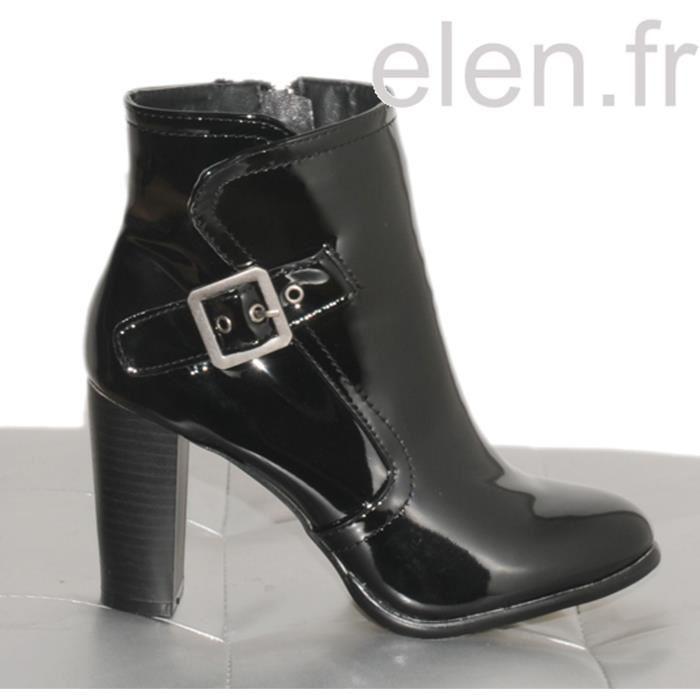 8067da9159a06 Bottines vernis noir LES SECRETS DE VANESSA Ref  0297 Noir Noir