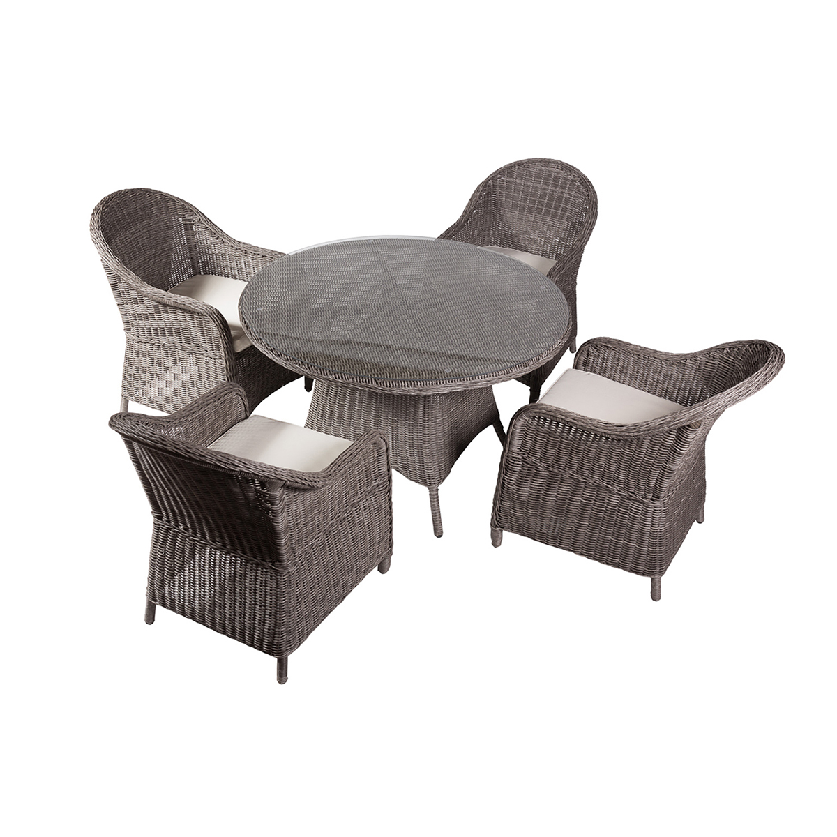 Table de jardin ronde en plastique topiwall for Salon de jardin plastique gris
