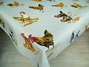 TOILE CIREE RONDE poule de poulet 135cm tissu enduit de plastique