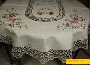 Chalet style vintage crème nappe, ovale, rectangulaire
