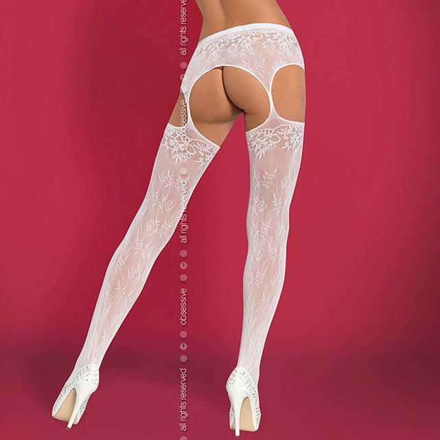 OBSESSIVE Collant ouvert blanc effet porte jarretelles 75dea38909b