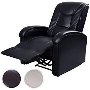 Fauteuil relax manuel Noir en simili cuir Réglage synchronisé