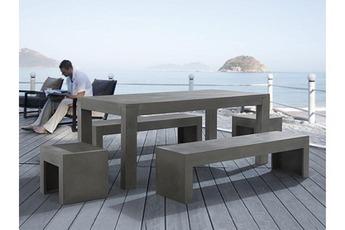 Table de jardin Table en béton 180 cm 2 bancs et 2 tabourets en