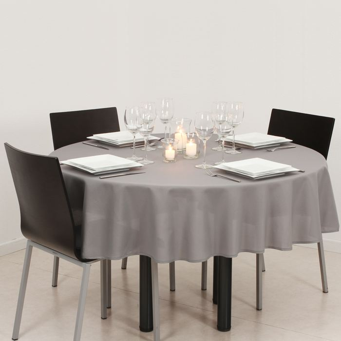 Nappe ronde anti taches Grise Achat / Vente nappe de table