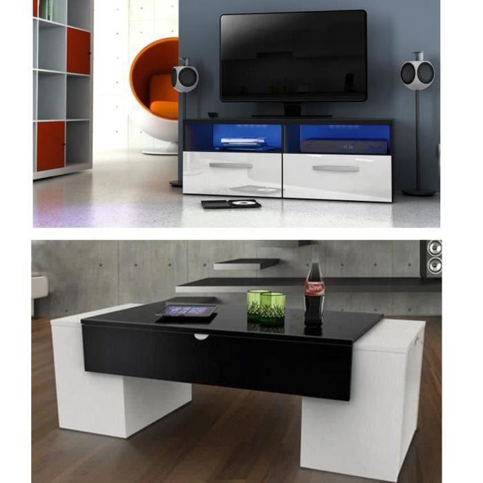 Salon complet Blanc et noir brillant + LED Achat / Vente meuble tv