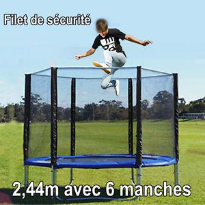 Filet de securite pour trampoline 2 44m pour 6 cubes barres 3 pieds 6