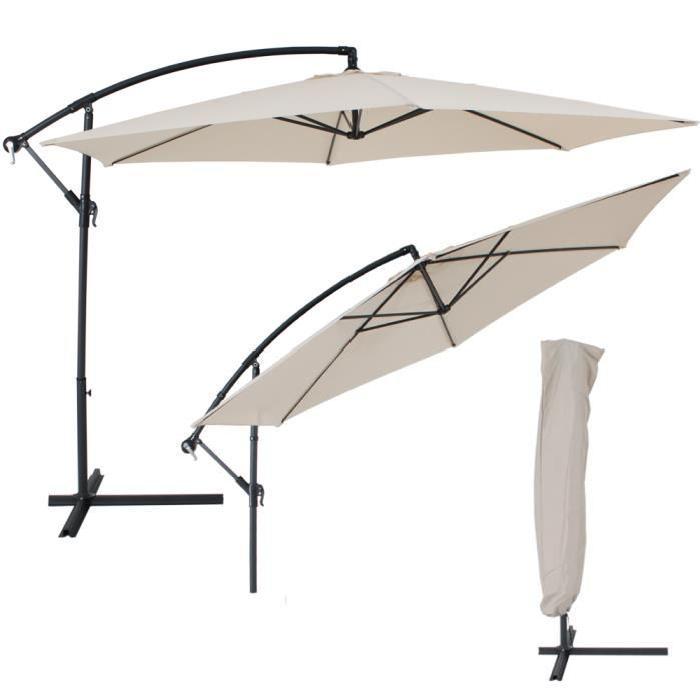 parasol déporté beige en aluminium + housse Achat / Vente parasol