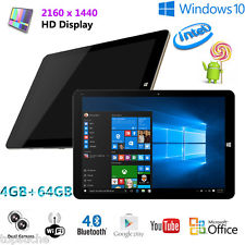 12″ 4/64Go Tablette Tactile PC Windows 10+Android 5.1 Quad Core 2160
